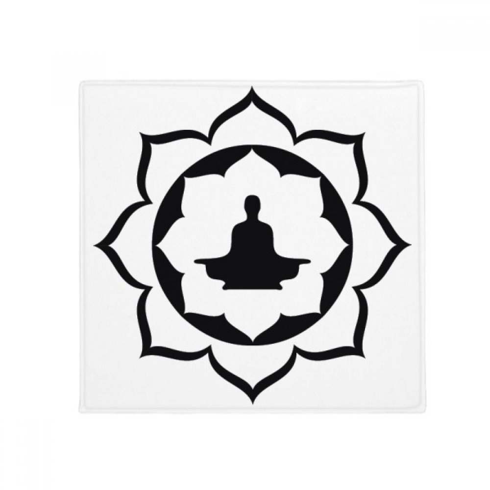 DIYthinker Buddhist Lotus Figure Simple Illustration Pattern Anti-Slip Floor Pet Mat Square Home Kitchen Door 80Cm Gift
