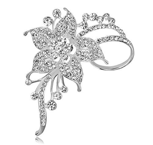 Royal Bridal Floral Brooch Pin Rhinestone Cubic-Zirconia CZ #BR2 in Gift Box
