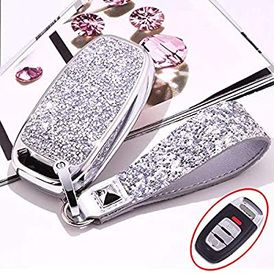 Royalfox(TM) 3 Buttons 3D Bling Smart keyless Remote Key Fob case Cover for audi old key, for Audi A3 A4 A5 A6 A7 A8 Q3 Q5 Q7 TT TTs TT RS (Silver)