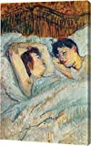 """This 13"""" x 19"""" premium gallery wrapped canvas print of In Bed by Henri De Toulouse-Lautrec is meticulously created on artist grade canvas utilizing ultra-precision print technology and fade-resistant archival inks. This magnificent canvas print is ga..."""