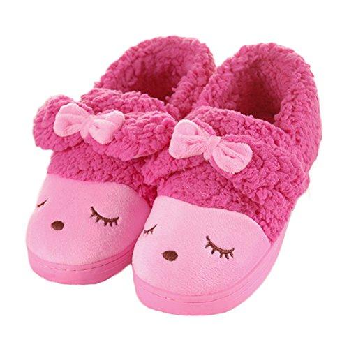 Cyber belle Bande Dessinée Bowknot Maison Floue Hiver Coton Pantoufle Anti-dérapant Chaussures Chaudes Rose Rouge