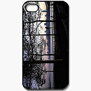 Protective Case Back Cover For iPhone 4 4S Case People Evening Romance Landscape Sky Black