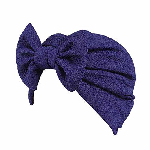 Kinglly Women Bow Blocked UV Cancer Chemo Hat Beanie Scarf Turban Head Wrap Cap Pretective Headwear Purple]()