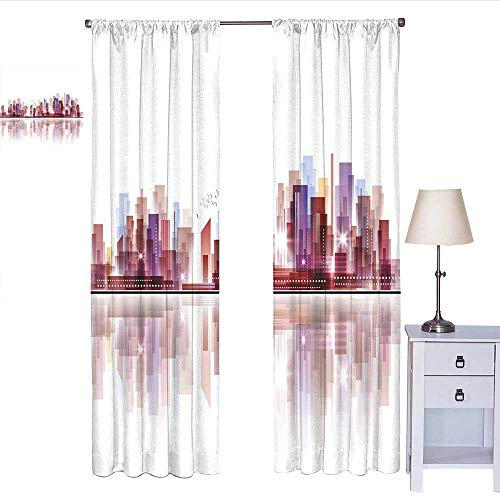 RenteriaDecor City Curtains for Living Room Landscape Modern Skyscrapers Metropolitan Silhouette Illustration Abstract Composition Curtain Holdback Multicolor W84 x L96