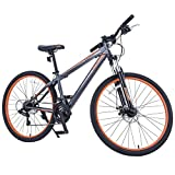 "GTM 27.5"" 21 Speed Mountain Bike Shimano Hybrid Bicycle ,Grey & Orange"