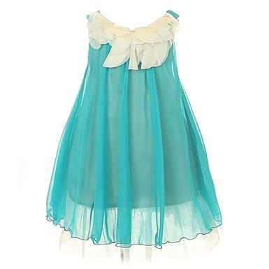 Amazon.com: Kids Dream Turquoise Floral Lace Bodice Easter Dress ...