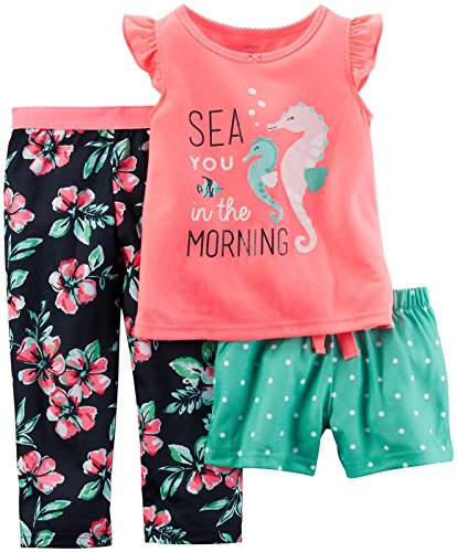 (Carter's Baby Girls' 3 Piece Poly Sleepwear, Pink Seahorse 12)