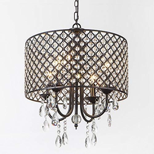 SOTTAE Modern Crystal Beaded Drum Shade 4 Lights Pendant Light, Chandelier for Living Room, Dining (Beaded Chandelier Pendant)