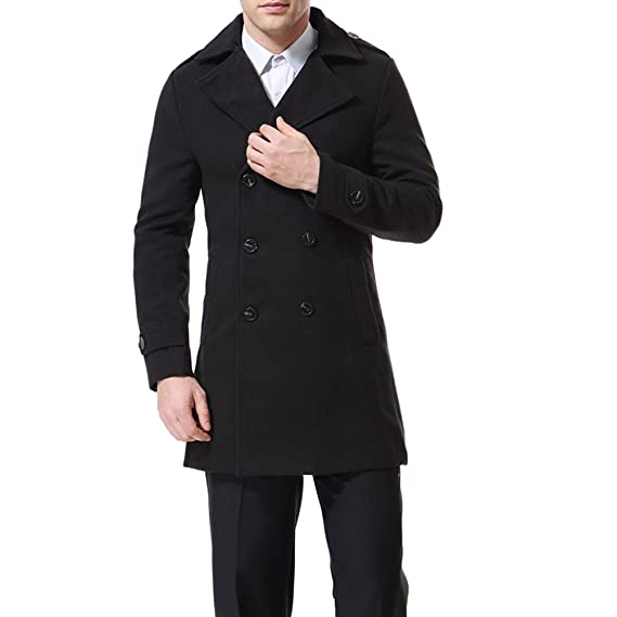 834ecbb831f3 Aowofs Men's Double Breasted Trench Coat Long Overcoat Slim Fit,Black,XS