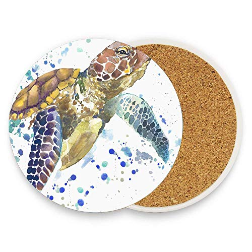 Sea Turtle Absorbent Coaster For Drinks Ceramic Thirsty Stone With Cork Back Fit Big Cup, No Holder Parck 1