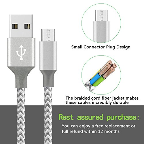 XIANDAN Micro USB Cable,4Pack 3FT 6FT 6FT 10FT Nylon Braided Android Charger USB to Micro USB Charging Charger Cord for Samsung Galaxy S7 Edge/S7/S6/S4/S3,Note 5/4/3 (Grey White) by XIANDAN (Image #2)