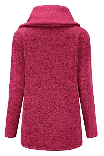 Sudadera Irregular Chaqueta Tops Cremallera Yacun De Rosa Mujer Abrigo Outwear dIOqYw7w