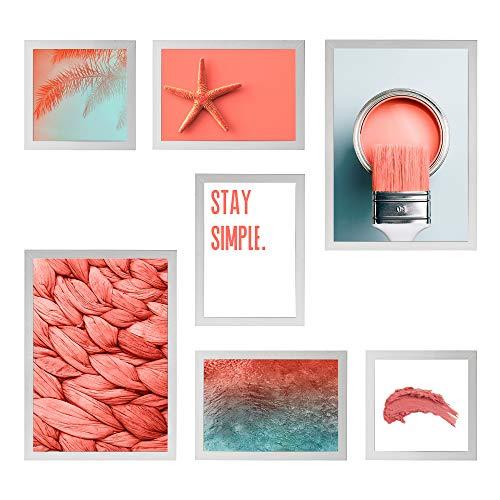 Conjunto Quadros Decorativos Living Coral Moldura Branca 90x90cm - Prolab Gift