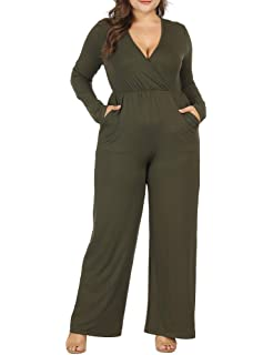 81e8cb287d04 Allegrace Women Plus Size Sexy Wrap V Neck Long Sleeve Jumpsuits Wide Leg Long  Rompers