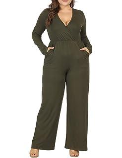 595bce274b9 Allegrace Women Plus Size Sexy Wrap V Neck Long Sleeve Jumpsuits Wide Leg  Long Rompers