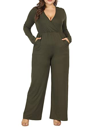 ead4a1f4dc04 Amazon.com  Allegrace Women Plus Size Sexy Wrap V Neck Long Sleeve Jumpsuits  Wide Leg Long Rompers  Clothing