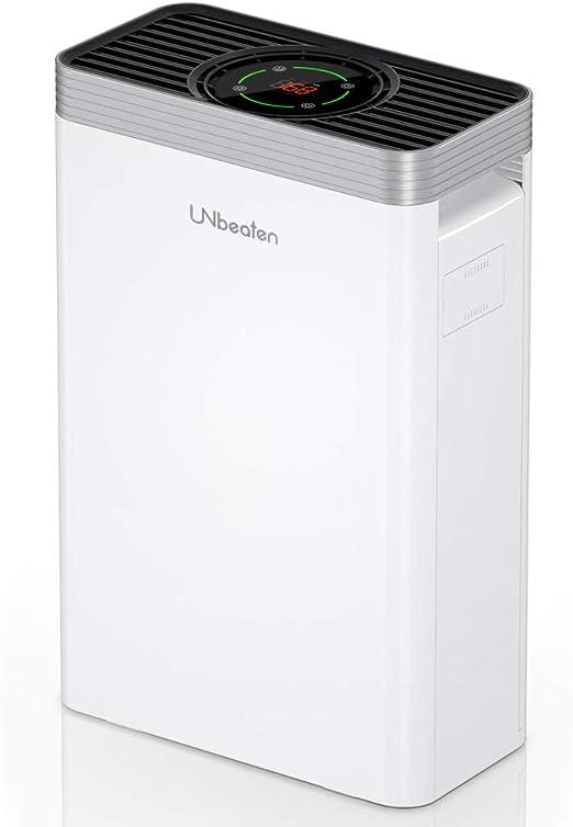 UNbeaten Purificador de Aire, Sensor LED Inteligente de Calidad del Aire, Elimina el 99.97% de Polvo, HEPA Verdadero 5 en 1, Captura Alergias, Polvo, Humo, Caspa de Mascotas,Olor, PM2.5: Amazon.es: Hogar