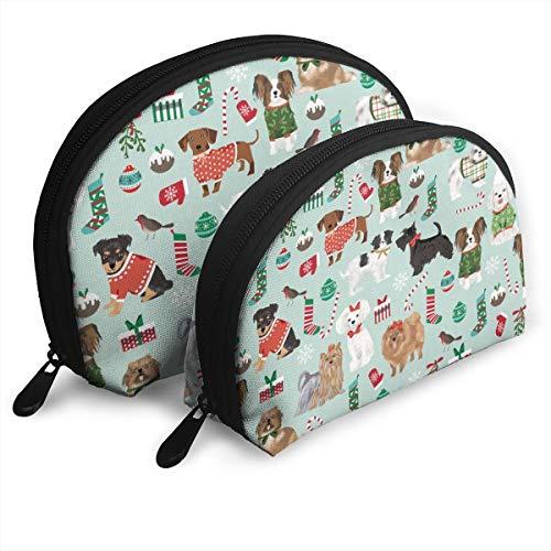 Dogs Christmas Cute Dog Breeds Toy Breeds Dogs Cute Dogs Fabrics Portable Toiletry Bag Makeup Bag Portable Travel Bags Handbag Organizer with Zipper 2Pcs