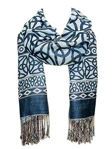 Elegant Celtic Knotwork Scarf, Iconic Celtic Knot design, Denim Blue