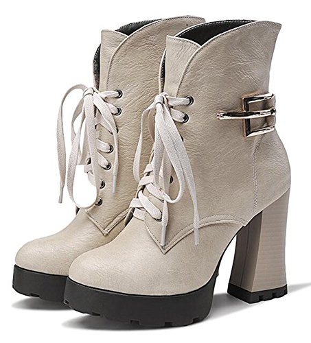 CHFSO Womens Trendy Fully Fur lined Waterproof Buckle Lace Up High Block Heel Platform Warm Winter Boots Beige imzF0QWN