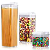 ME.FAN Air-Tight Food Storage Container Set [3-Piece Set] Durable Seal Pot- Cereal Storage Containers - For Dry Foods & Liquids - Kitchen Space Saving - BPA Free - Clear Containers with White Lids