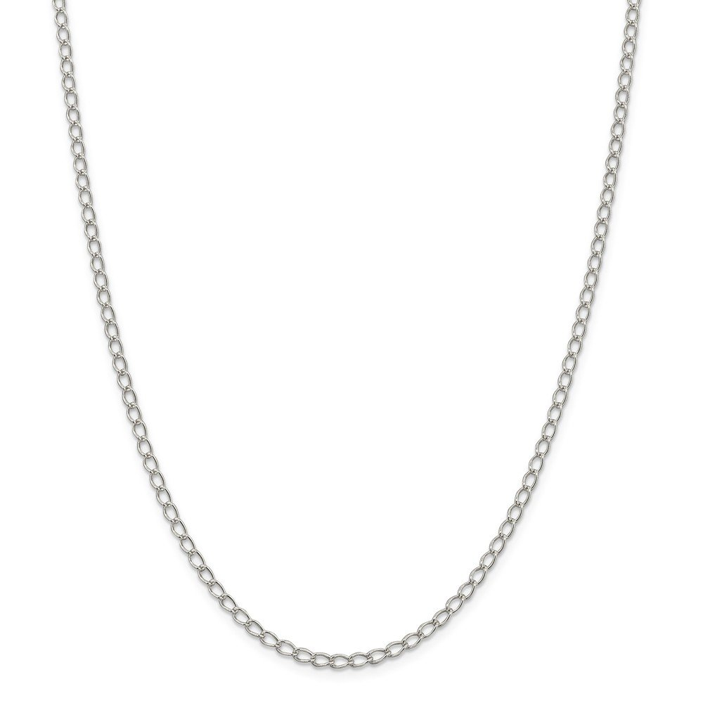 20 Length 925 Sterling Silver 3mm Half Round Wire Curb Chain Necklace