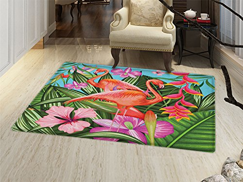 smallbeefly Flamingo Door Mats Area Rug Illustration of Flamingo with Tropical Garden Hibiscus Flower Plant Vintage Floor mat Bath Mat for tub Green Pink Blue