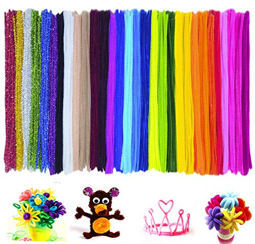 Esoca 300Pcs Multicolor Pipe Cleaners Chenille Stem Fiber and Glitter Chenille Stems Set Craft Supplies Fuzzy Sticks for for Arts Crafts DIY Decorations Wedding Party Holiday 6 mm x 12 inch