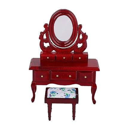 Casa de muñecas en miniatura escala 1:12th Blanco Tocador con taburete Rosa