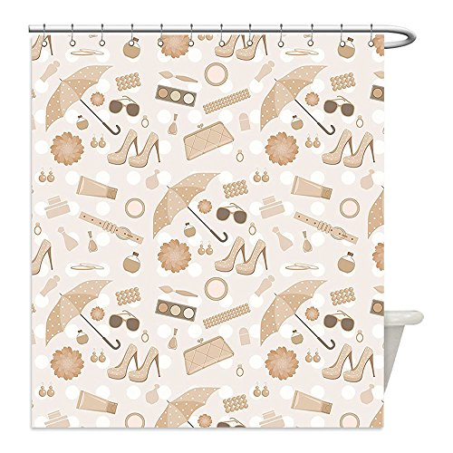Liguo88 Custom Waterproof Bathroom Shower Curtain Polyester Beige Decor Collection Chic Vintage Styled Graphic with Fancy Polky Dot Umbrellas Heels Purses Trendy Art Home Beige Brown Decorative bathr