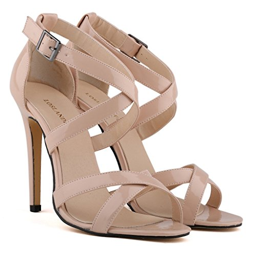 ZriEy Women's Sexy High Heel Cross Strap Sandals Bridal Party Shoes Patent Leather Nude size 5