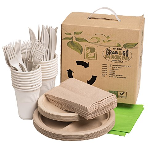 - Earth's Natural Alternative Wheat Straw Fiber, Bagasse (Sugarcane) Tree Free, Party Pack, Hiking, Grab & Go Eco Picnic Pack, 114-piece