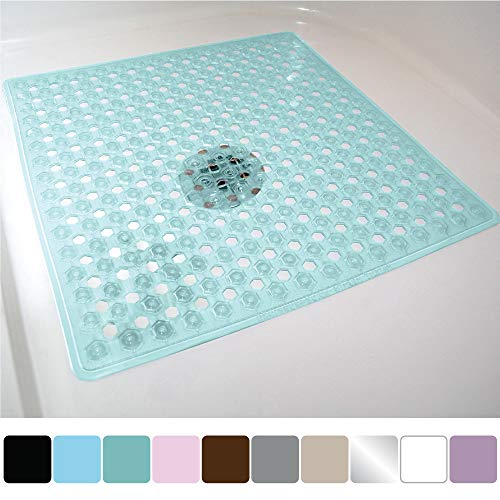 (Gorilla Grip Original Patented Bath, Shower, and Tub Mat (21x21), Machine Washable, Antibacterial, BPA, Latex, Phthalate Free, Square Bathroom Mats with Drain Holes, Suction Cups (Green))