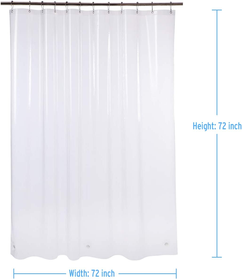 "AmazerBath Plastic Shower Curtain, 72"" W x 72"" H EVA 8G Shower Curtain with Heavy Duty Clear Stones and 12 Grommet Holes Thick Bathroom Plastic Shower Curtains-Clear: Home & Kitchen"