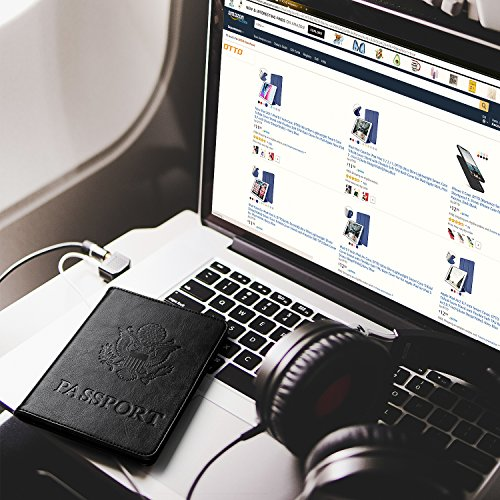 DTTO RFID Blocking Passport Cover, Multi-functional Premium Leather Passport Holder Travel Wallet Cover Case - Black by DTTO (Image #6)
