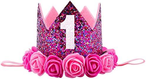 Missley Corona Rosa Flor Corona de Oro Corona de cumpleaños Princesa bebés Corona Cabeza Accesorios de Pelo (B)
