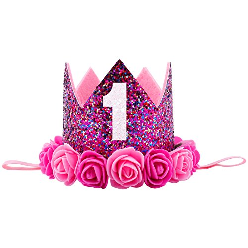 Baby Princess Tiara Crown, Aiernuo Kids First Birthday Rose Flower Headband Hair Accessories (Red & Pink Flowers Crown - B)