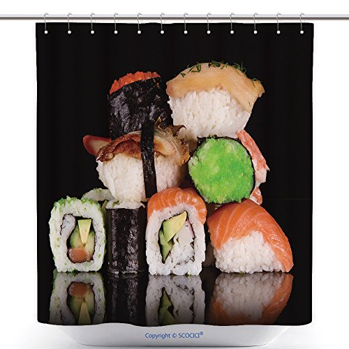 Funky Shower Curtains Japanese Seafood Sushi 130596029 Polyester Bathroom Shower Curtain Set With Hooks