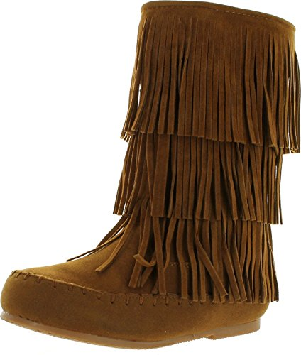 PIERRE DUMAS Girls Apache 6 New Tan Synthetic Boots 4 M US Big Kid - Girls Fringed Boots