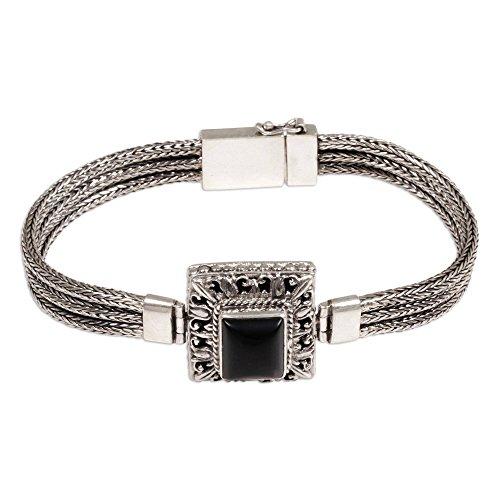 NOVICA Onyx .925 Sterling Silver Pendant Bracelet 'Beautiful Admiration' -