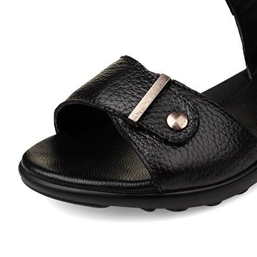 AllhqFashion Mujeres Velcro Mini tacón Cuero De Vaca Sólido Puntera Abierta Sandalia Negro
