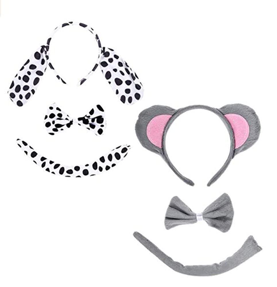 Kids Animals Costume Mouse Dalmatian Headband Ears and Tail Set, Party Halloween Christmas Costume animalheadwear-2pc