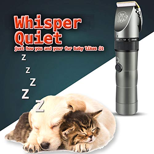 FOOLS ALIBAI Quiet Dog Clippers Cordless Cat Shaver, Professional dog trimmers cordless silent Detachable Blades Cordless Rechargeable, Pet Clipper Kit for Dog Cat, Quiet Animal Clippers