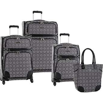 Ninewest Luggage Element 9 Four Piece Luggage Set, Black/Grey, One Size