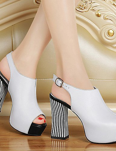 Dress Office Toe White Chunky Career Leatherette Peep Black Shoes Heel Sandals amp; Black Casual Women's ShangYi P8wAxgR8