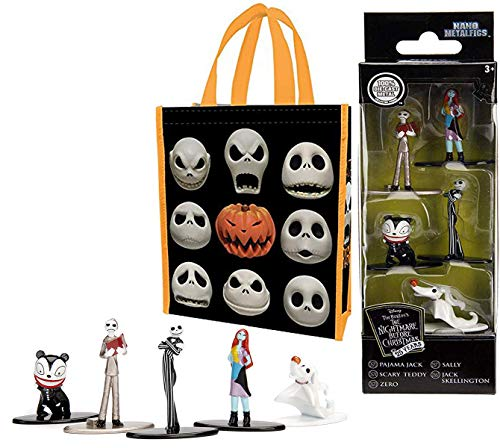 Metal NBX Figures Nightmare Before Christmas Mini Figs 5-Pack Jack Skellington / Sally / Scary Teddy / Pajama / Zero Ghost Dog Pop Nano Cartoon + Canvas Tote Bag with Printed Halloween Town Characters -