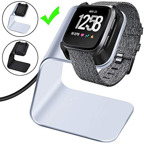 CAVN Charger Dock Compatible with Fitbit Versa/Versa Lite, Premium Aluminum Charging Cable Cord Station Cradle Base Attached 4.2ft USB Stand Cable Smartwatch Accessories, Silver