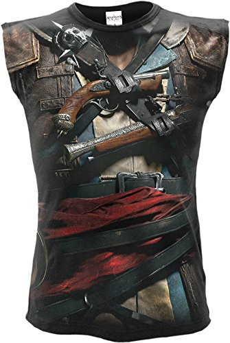 Spiral - Mens - Assassins Creed IV Black Flag - Allover Licensed Sleeveless T-Shirt Black - ()