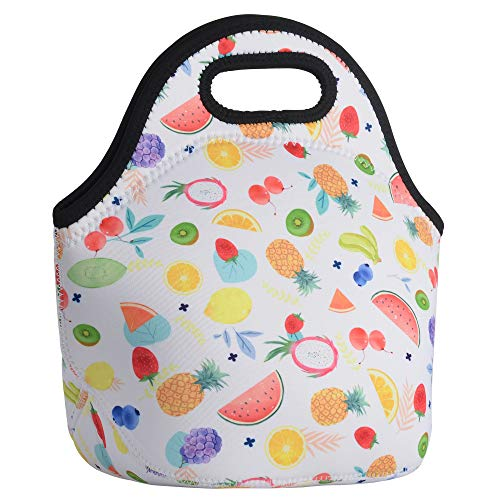 CM Soft Neoprene Tote Picnic Bag Lunch Container Box Organizer for Outdoor Travel (Fruit Pattern) (Pattern Container)