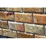 Scabos 2 X 4 Beveled Brick Travertine Mosaic Tile